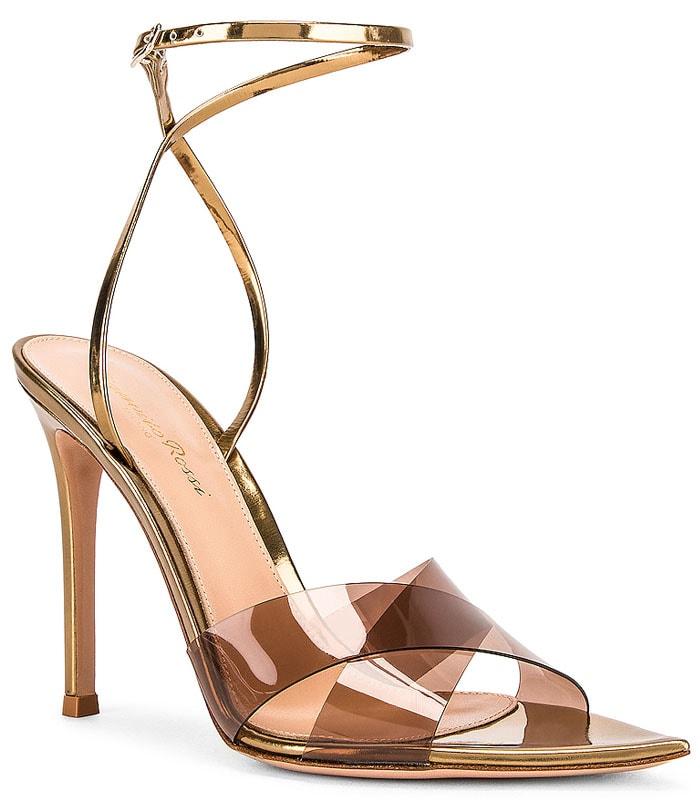 Gianvito Rossi Stark Sandals in Blush and Gold