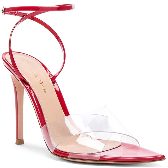 Gianvito Rossi Stark Sandals in Transparent and Red