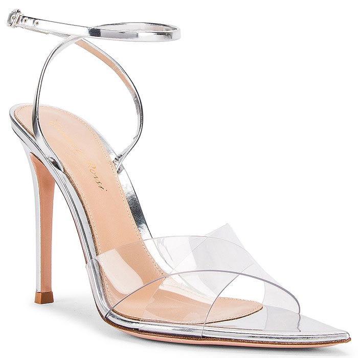 Gianvito Rossi Stark Sandals in Transparent and Silver