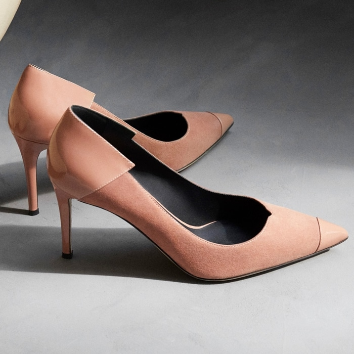 This perfect suede pump is designed to be pretty in pink with attitude to boot