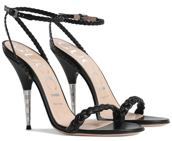 Gucci Braided Sandals in Black Leather