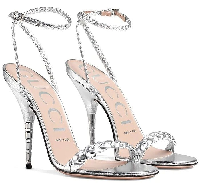 Gucci Braided Sandals in Silver,