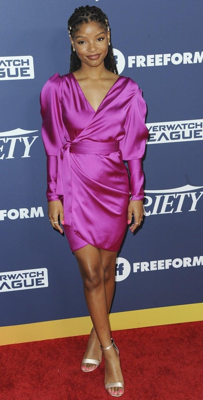Halle Bailey's sexy pink Rhea Costa Pre-Fall 2019 mini dress