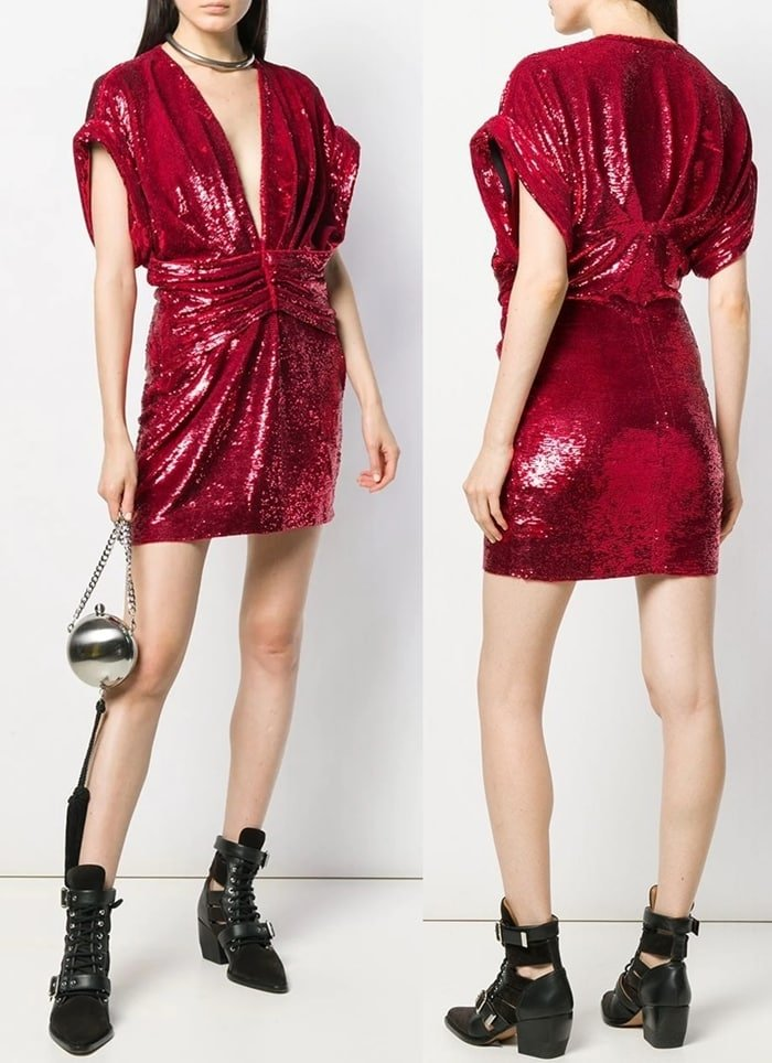 Red sequined mini dress featuring a plunging neck, cap sleeves, a fitted waist, sequin embroidery, a short length, and a straight hem