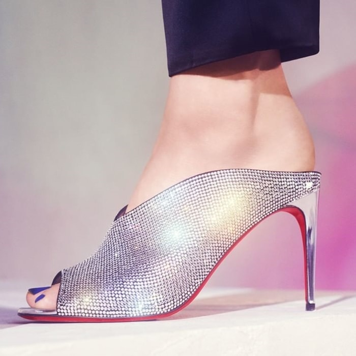 Christian Louboutin Iced Bear Embellished Red Sole Mules