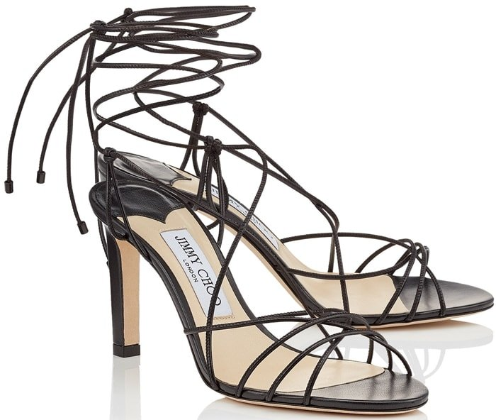 Made in Italy, this sandal is set on a wearable mid-heel with ties at the back