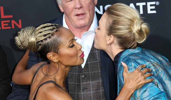 Jada Pinkett Smith and Piper Perabo showing Nick Nolte they're horrible kissers