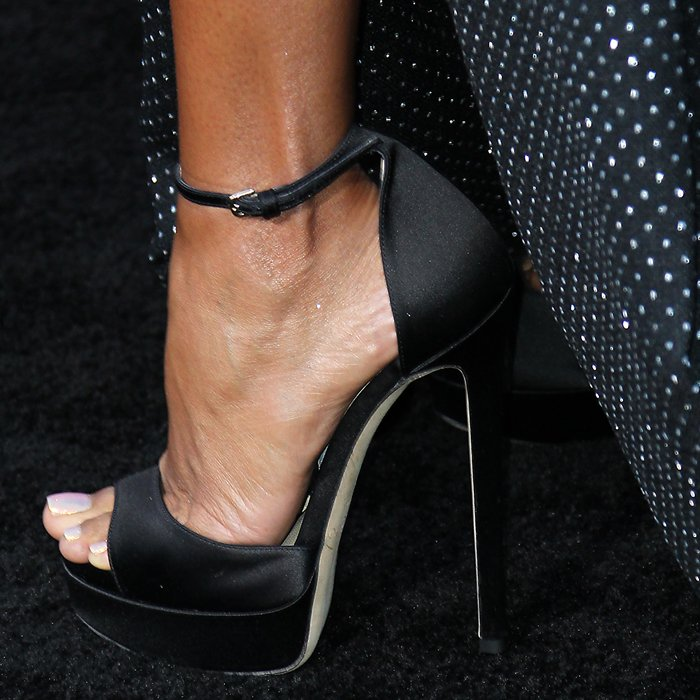Jada Pinkett Smith's sexy feet in crazy high Jimmy Choo shoes
