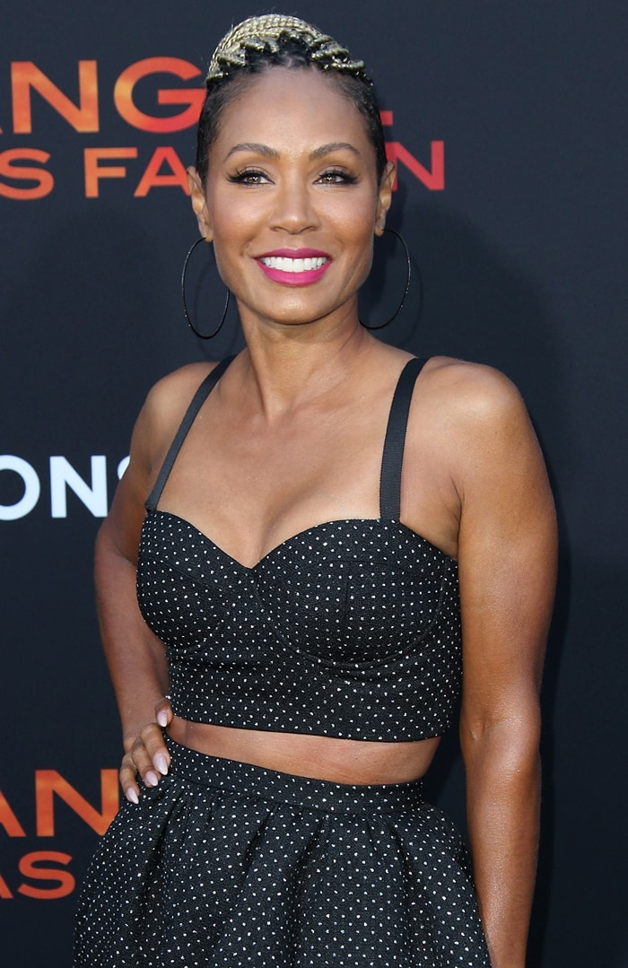 Jada Pinkett Smith flashed her toned midriff in a cropped, bustier-style top