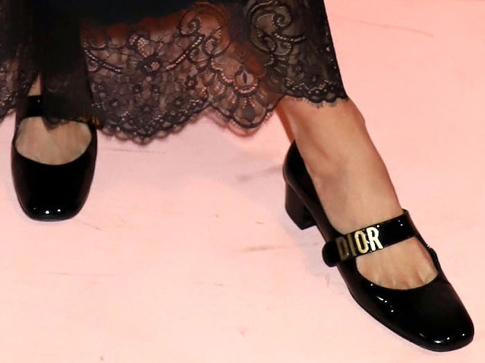 Dior Baby-D black-patent mary janes on Jaime King