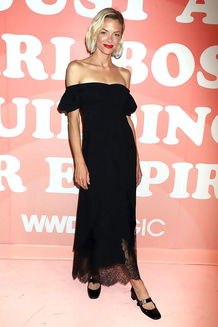 Jaime King in a Self-Portrait black off-shoulder dress and Dior mary janes