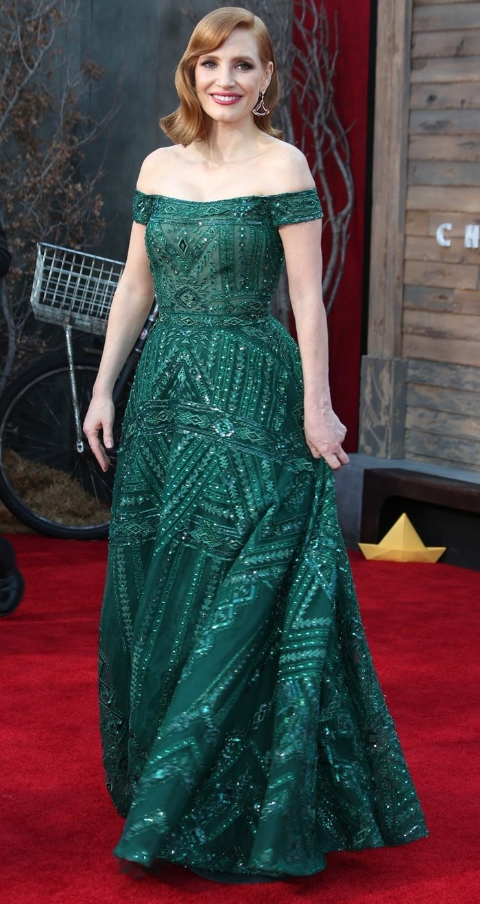 Jessica Chastain donned a green Zuhair Murad Couture gown on the red carpet at the premiere of her anticipated film It: Chapter Two