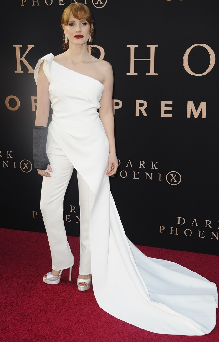 Jessica Chastain donned a white Maticevski ensemble to the premiere of Dark Phoenix