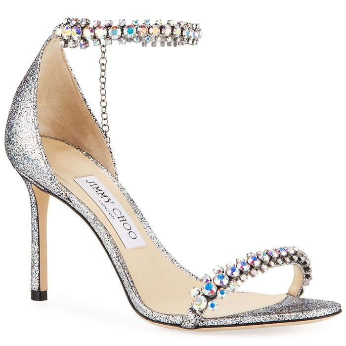 Jimmy Choo Shiloh sandals in holographic leather