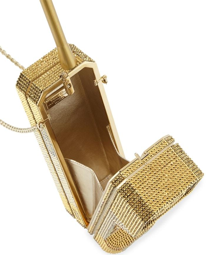 Gold Call Me Brick Phone Clutch Bag