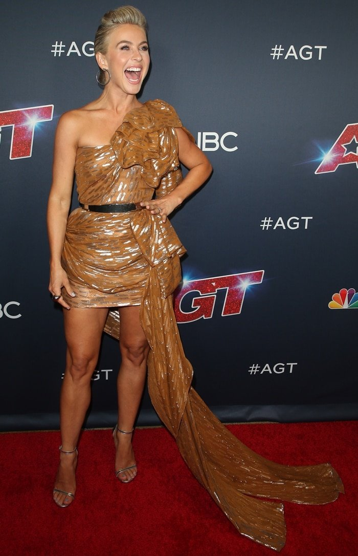 Julianne Hough flaunts her long legs while attending the first live taping of America's Got Talent's current seaso