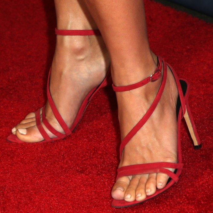 Julianne Hough shows off her hot feet in red sandals