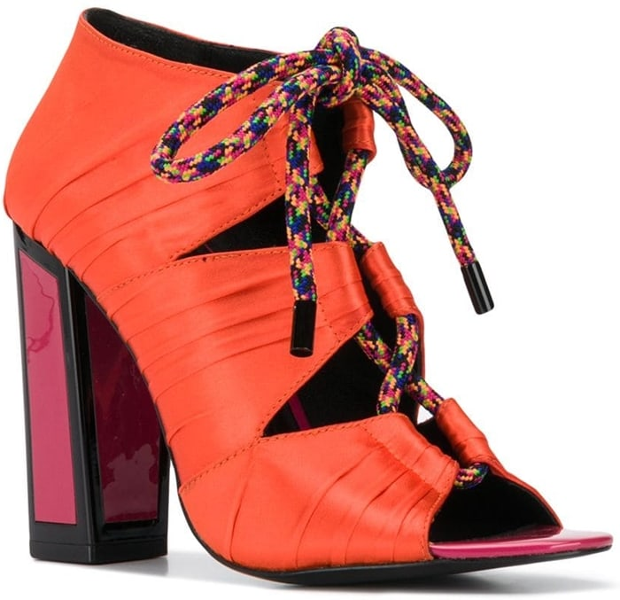 Multicoloured leather Kiko sandals from Kat Maconie featuring an open toe, a lace-up front fastening, an ankle length and a high heel