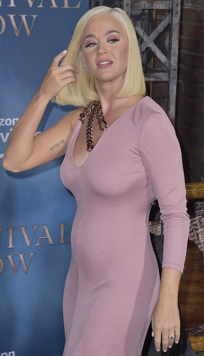 Katy Perry's pink Tom Ford dress with chain detail
