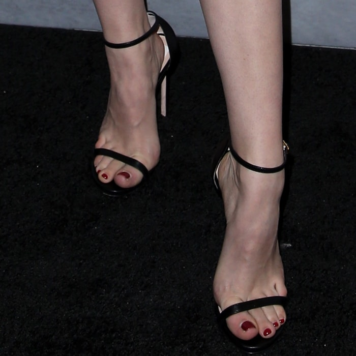 Kelli Berglund's pretty feet and toes in Stuart Weitzman shoes