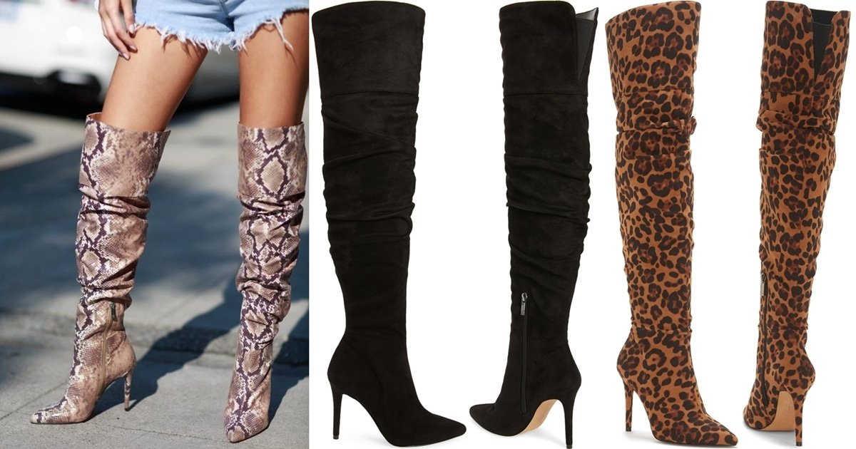 Sexy Ladee Over The Knee Boots In Snake Leopard And Black