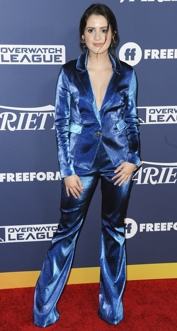 Laura Marano's blue Cavanagh Baker pantsuit at Variety's 2019 Power of Young Hollywood event