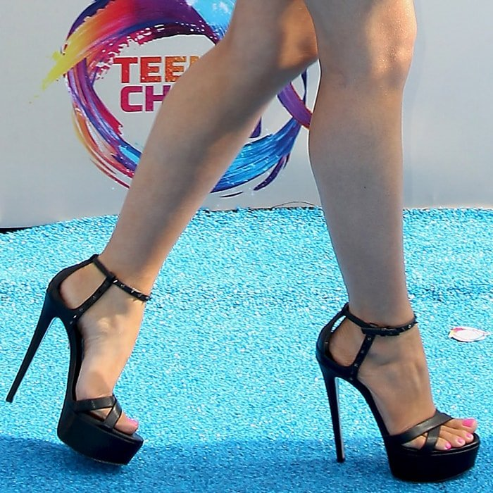 Laura Marano's sexy feet in black Trophy Bling platform sandals by Ruthie Davis