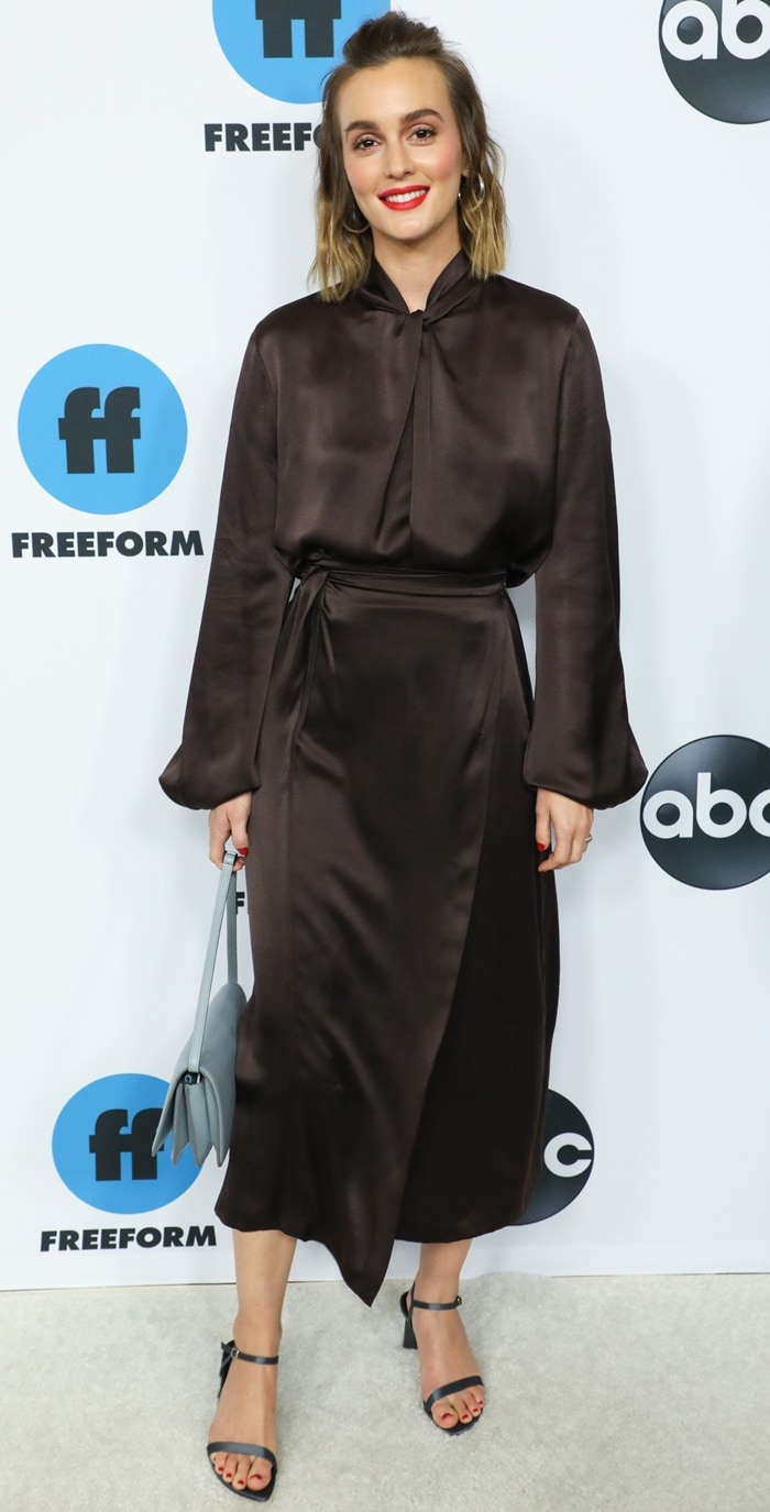 Leighton Meester strikes a pose as she arrives at the 2019 Winter TCA Press Tour