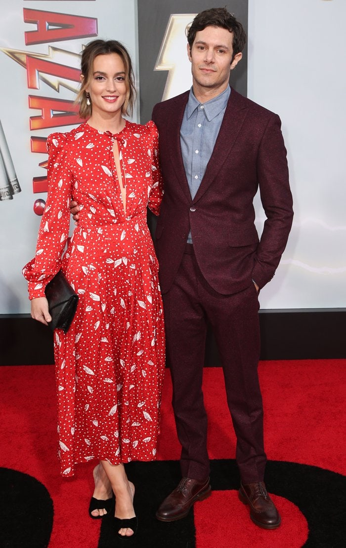 Leighton Meester joined her husband Adam Brody at the Shazam! movie premiere