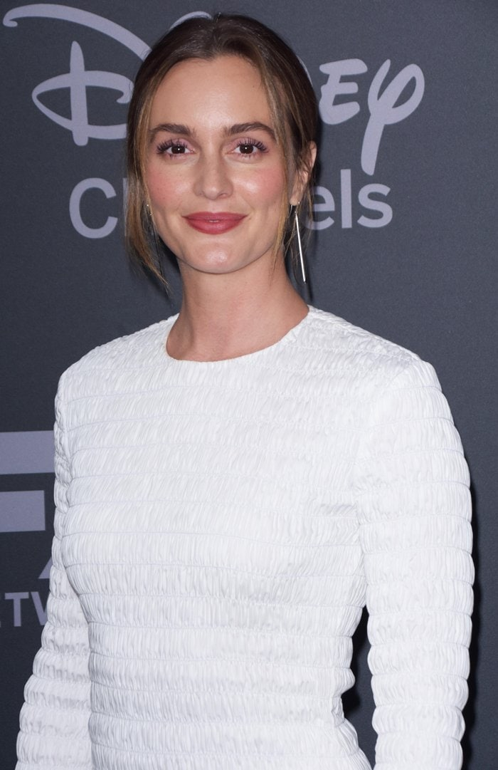 Leighton Meester with her hair pulled back at ABC's event during the Disney Upfront Experience