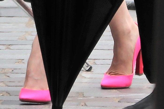 Lily Collins' pink Christian Louboutin Agneska pumps