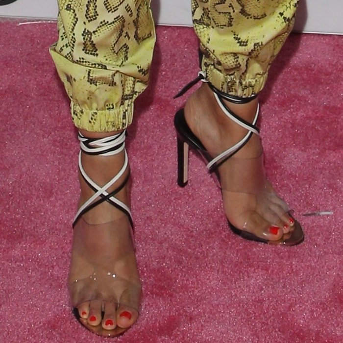 Liza Koshy's sexy feet in Ritch Erani 's ultra-modern cutout St Tropez sandals