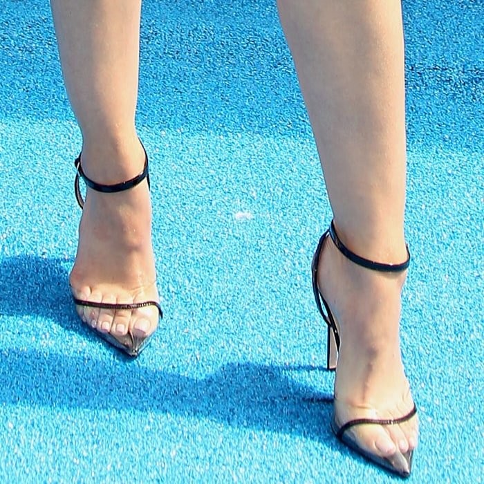 Lucy Hale's pointy shoes designed by Andrea Wazen