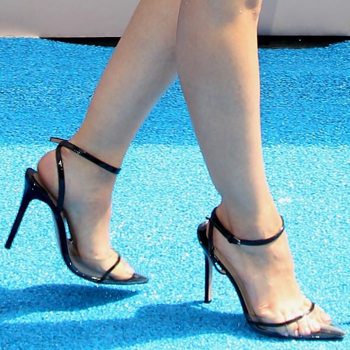 Lucy Hale's pretty feet in Andrea Wazen Dassy pumps
