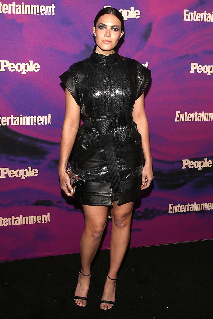 Mandy Moore in a belted leather dress and Christian Louboutin 514 sandals