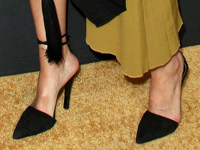 Mandy Moore wearing Proenza Schouler black-suede ankle-strap mules
