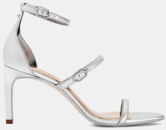 Add some shine to your step with metallic triple strap Triam sandals from Ted Baker