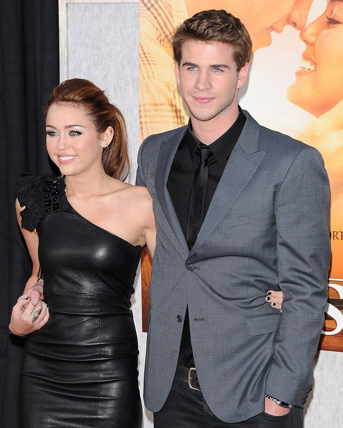 Miley Cyrus and Liam Hemsworth at The Last Song premiere