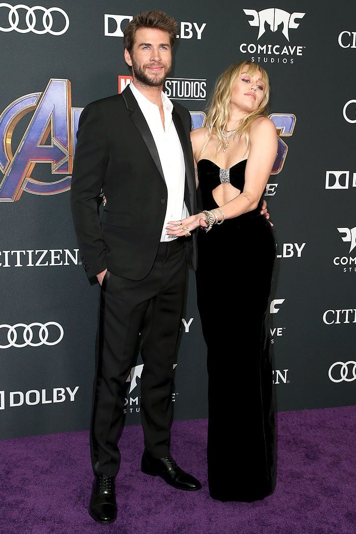 Miley Cyrus and Liam Hemsworth at the Avengers: Endgame premiere