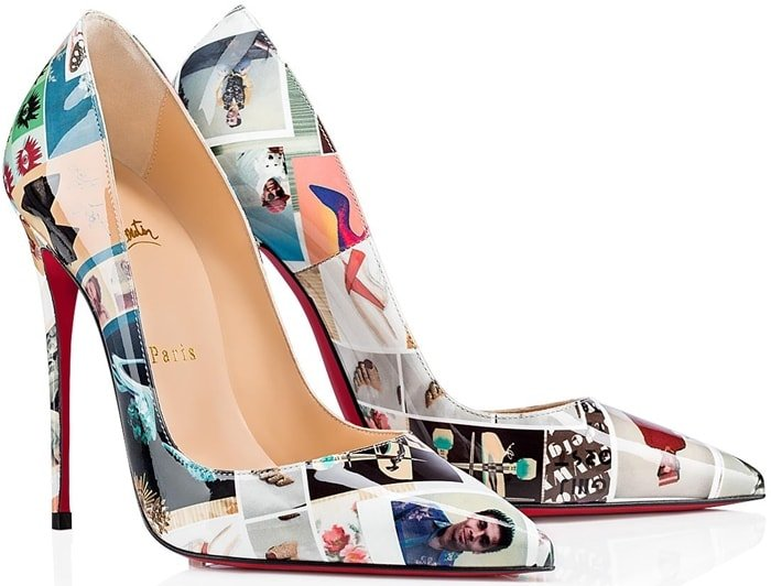 The pointy toe pump with the sensational arch is crafted in multi-colored Collage-printed patent leather