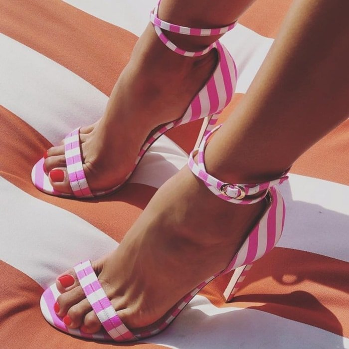 Pink and white leather and silk crepe Narcissus sandals from Chloe Gosselin