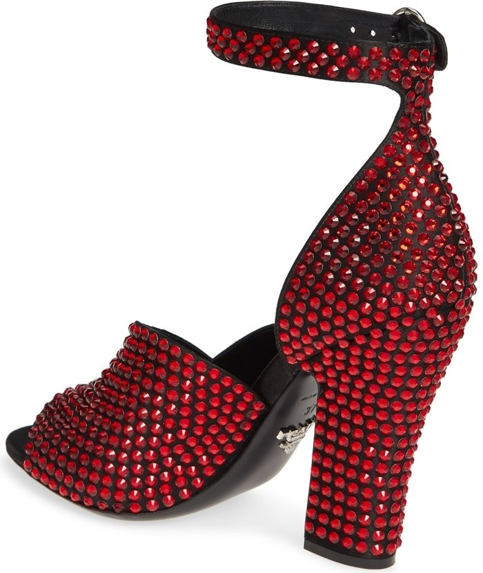 Red Crystal Satin Ankle-Strap Sandals