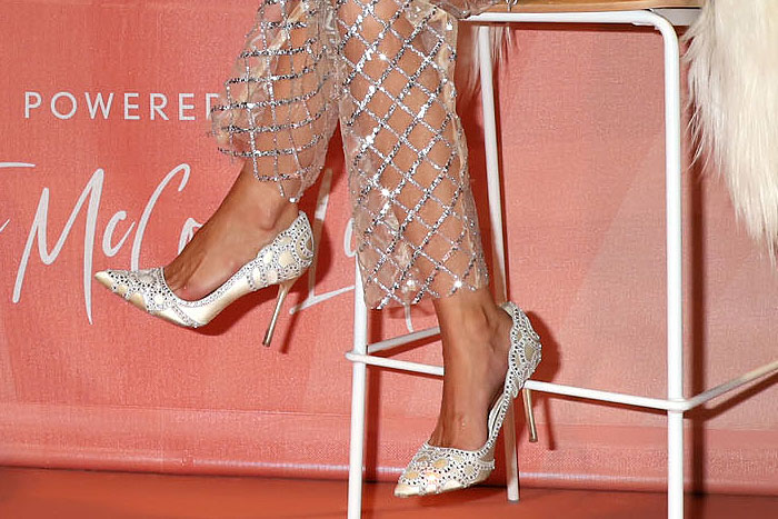 Rachel McCord's feet in Badgley Mischka 'Rouge' rhinestone-embellished scalloped satin pumps
