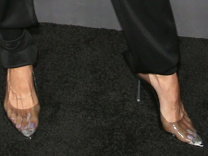 Rachel McCord's sweaty feet in clear pumps