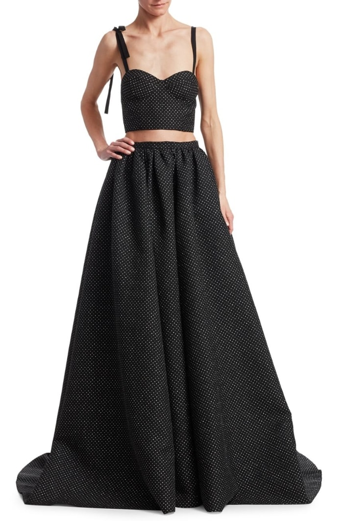 Rosie Assoulin Bustino Polka-Dot Cropped Top and Ball Skirt