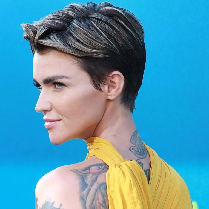 Ruby Rose has a blue swallow tattooed on the back of her neck