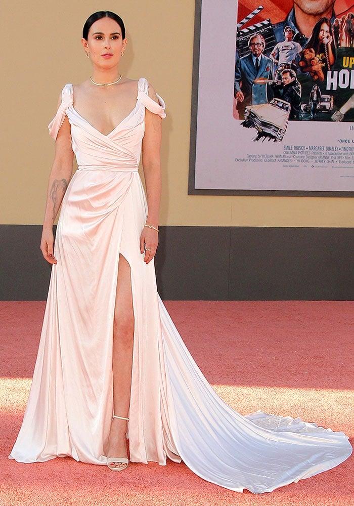 Rumer Willis in a light pink satin gown