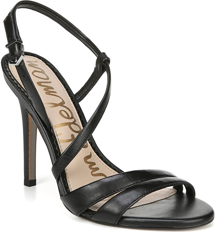 Step out in style wearing these elegant black Alisandra strappy stiletto sandals