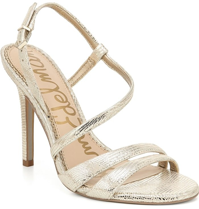 Step out in style wearing these elegant gold Alisandra strappy stiletto sandals