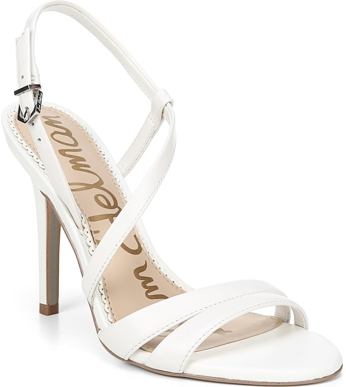 Step out in style wearing these elegant white Alisandra strappy stiletto sandals